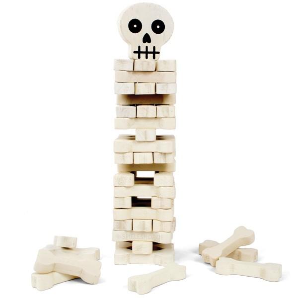 Wackelturm Stack The Bones von Kikkerland mit Knochen und Schädel