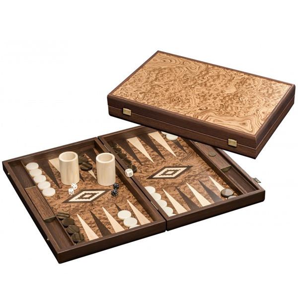 Große Edel-Backgammon-Kassette mit Walnuss-Wurzelholz und Mahagoni Intarsie - 47,5 cm