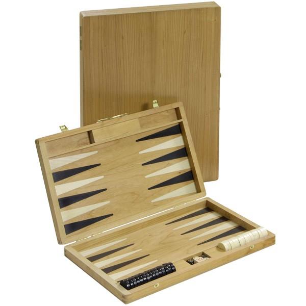 Backgammon-Koffer - Roseneiche mit Intarsien - 36 cm - Deutsche Handarbeit