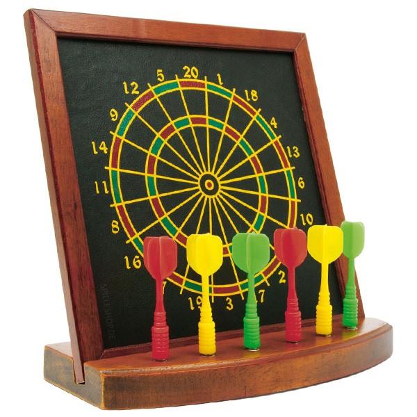 Tisch-Dartspiel aus Holz mit Dartscheibe - magnetisch