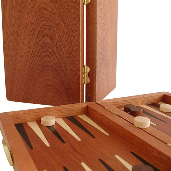 Edel Reise-Backgammon mit Intarsien in Mahagoni - 19 cm