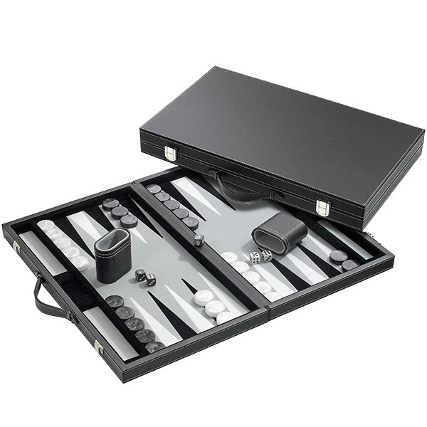 Backgammon-Koffer aus Kunstleder mit grauem Filz - 38 cm