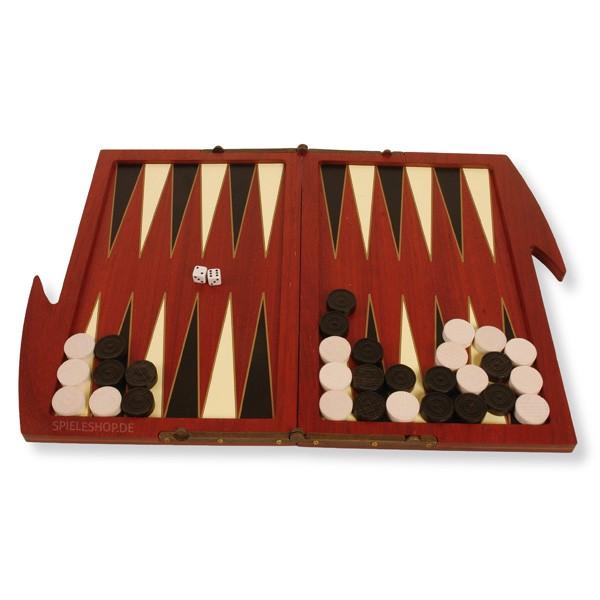 Moderne edle Backgammon-Kassette aus Padouk - 28 cm