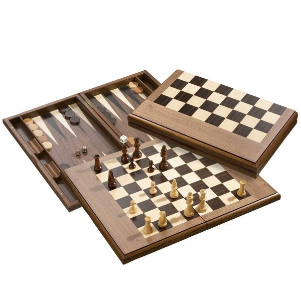 Edle Schach-Backgammon-Dame-Kassette - Erle/braun/natur - groß
