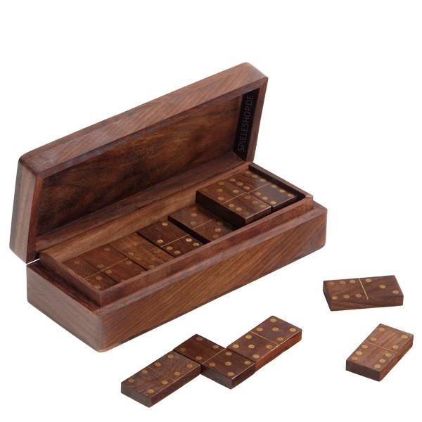6er Domino aus Sheeshamholz mit Messingaugen - 28 Steine