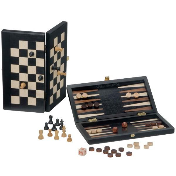 Design Schach & Backgammon Reisespiel in Ahorn/schwarz/natur - 25 cm - Deutsche Handarbeit