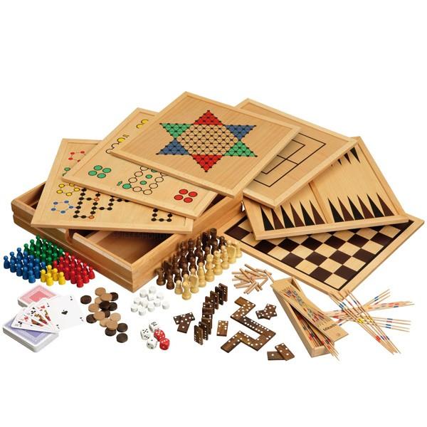 Holz-Spielesammlung aus Buche mit 100 Spielvarianten