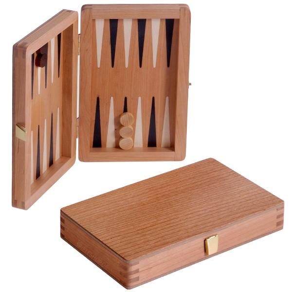 Edel Reise-Backgammon mit Intarsien in Kirschholz - 19 cm
