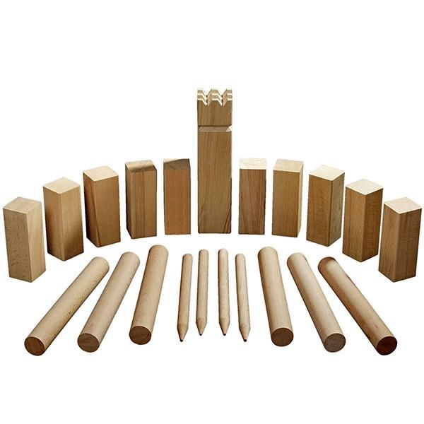 Kubb-Spiel in Originalgröße aus Buche-Holz - 30 cm