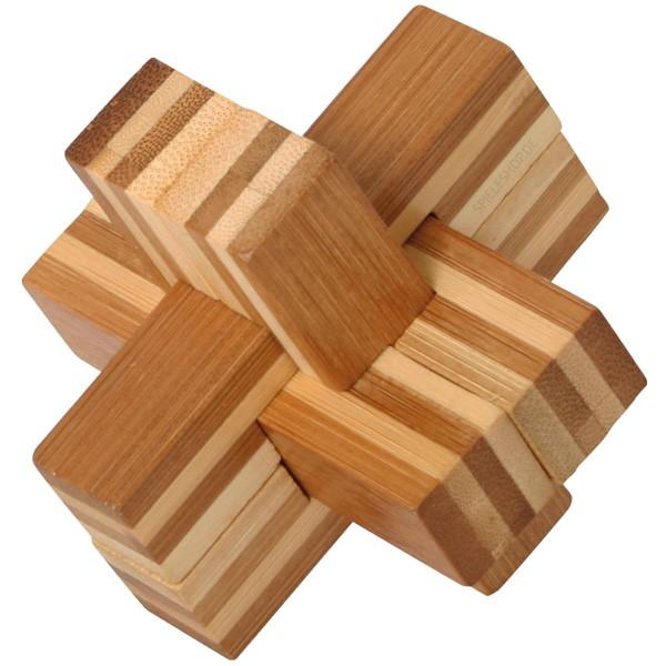 Bambus-Puzzle Teufelsknoten - 6 Puzzleteile