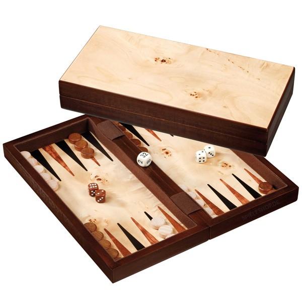 Backgammon Errikousa in Birken/braun/Wurzelholz mit Intarsien - 31 cm