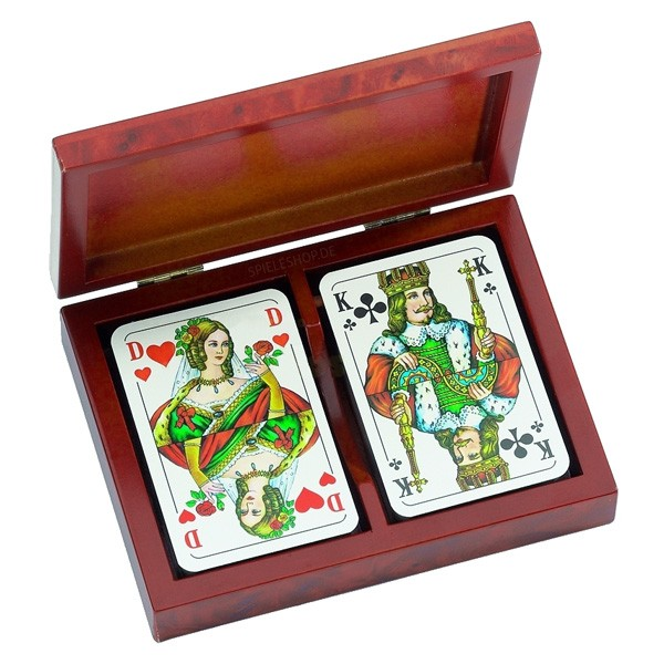 Spielkarten in Kartenbox - Wurzelholz-Design