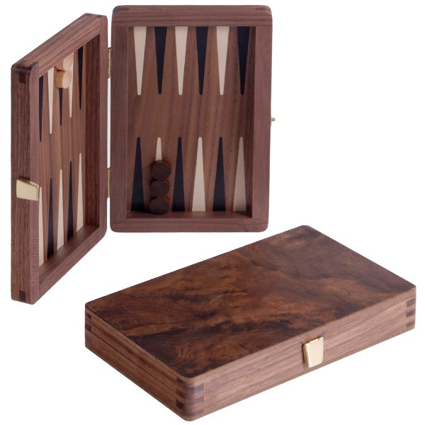 Edles Reise-Backgammon mit Intarsien in Nusswurzel - 19 cm