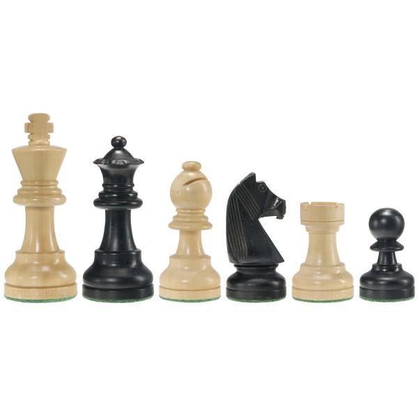 Schlichte Staunton-Schachfiguren in Schwarz/Buchsbaum - 95 mm