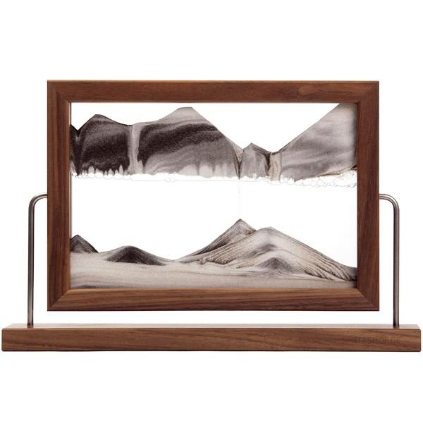 Sandbild Window mit Standrahmen zum Drehen in Walnuss-Holz