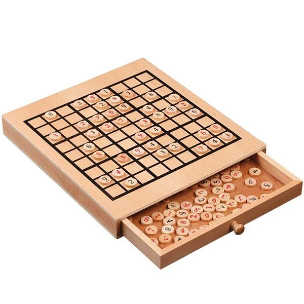 Sudoku Spiel als Buche-Holzkassette