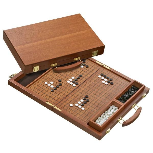 Go Brettspiel im edlen Mahagoni-Koffer aus Holz