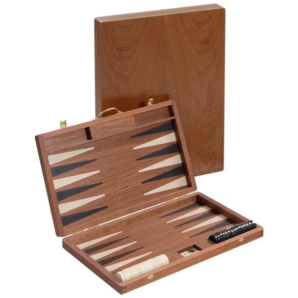 Großer Backgammon-Koffer - Mahagoni/braun mit Intarsien - 46 cm - Deutsche Handarbeit