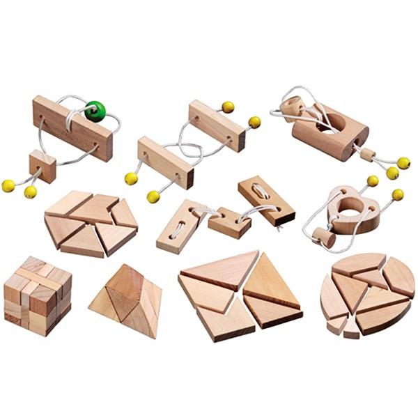 Minipuzzle-Sortiment - 10 kleine Holzpuzzle / Legepuzzle / Seilpuzzle