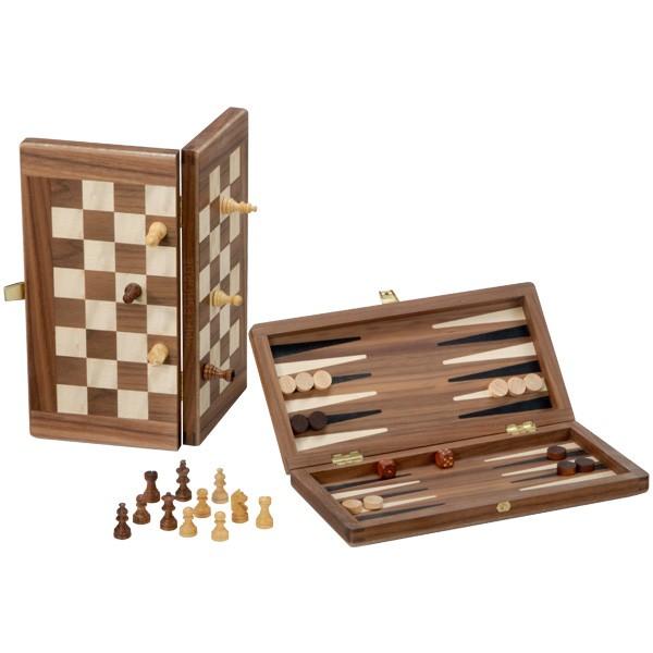 Edel Schach & Backgammon Reisespiel - Nussbaum/Ahorn/natur - 25 cm - Deutsche Handarbeit