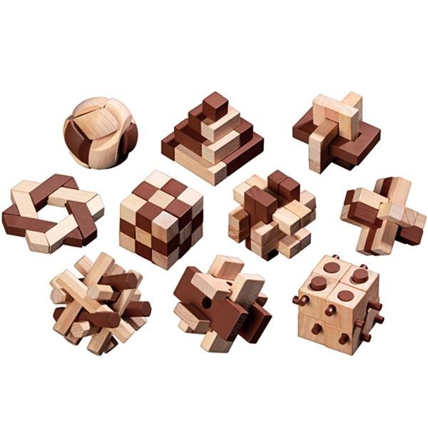 Holzpuzzle-Sortiment - 10 kleine Holzpuzzle / Steckpuzzle