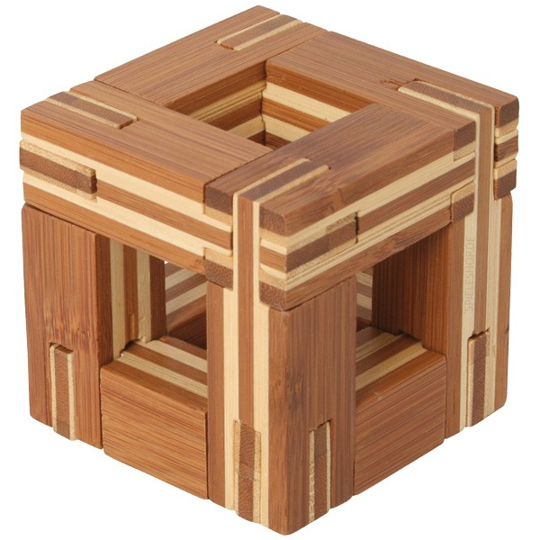 Bambus-Puzzle C - Steckwürfel - 12 Puzzleteile