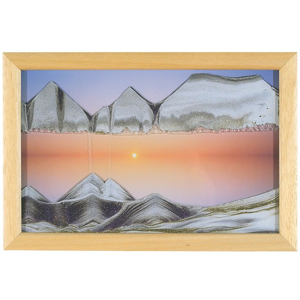 Sandbild Sunset im Wandrahmen aus Natur-Holz mit Sonnenuntergang
