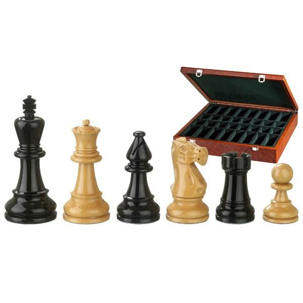Edel-Schachfiguren Nero - Buchsbaum/schwarz/natur - 95 mm