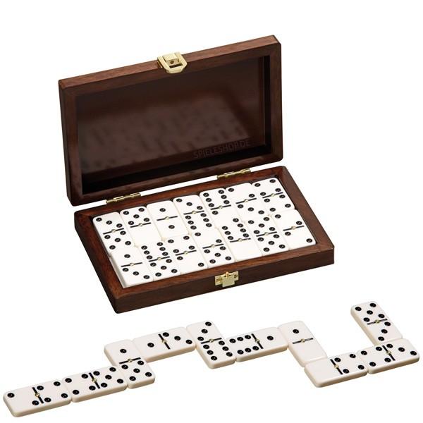 Domino Doppel 6 in Walnussoptik - 28 Steine