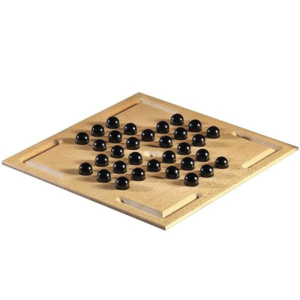 Edel Solitaire - Hochwertiges Buche-Holz mit schwarzen Glas-Murmeln