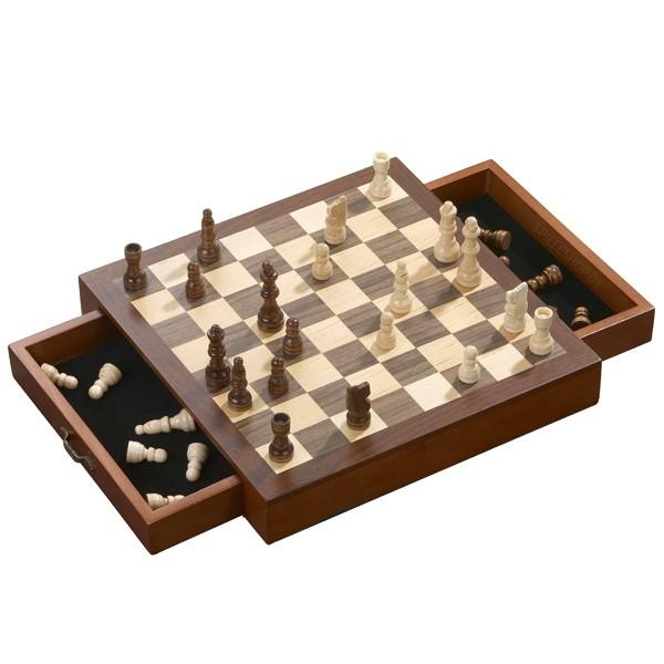 Mahagoni-Schachkassette mit Schubladen - Ahorn/Walnuss/braun/natur