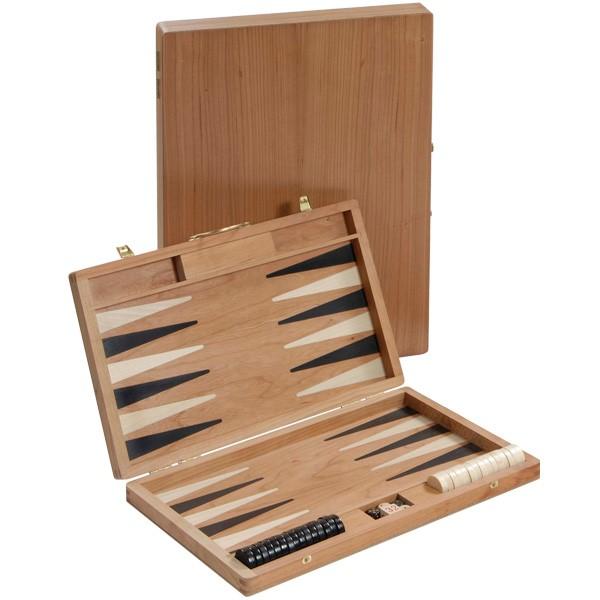 Backgammon-Koffer - Kirsche mit Intarsien - 36 cm - Deutsche Handarbeit
