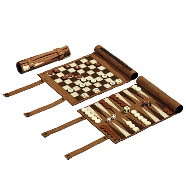 Schach-Backgammon-Dame-Set aus Leder - 21 cm