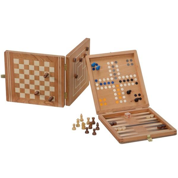 Edle Reise-Spielesammlung mit Schach, Dame, BG & Ludo - Deutsche Handarbeit