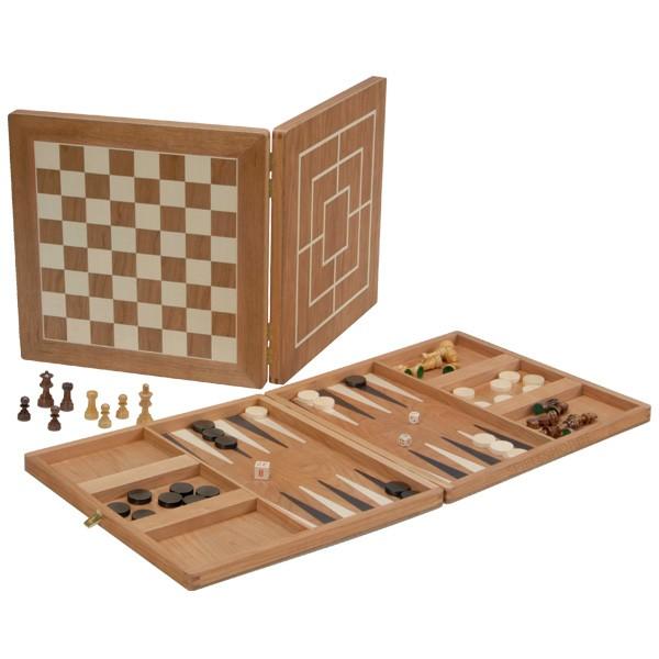 Große Spielesammlung aus Kirschholz - Schach, Dame, Mühle & Backgammon