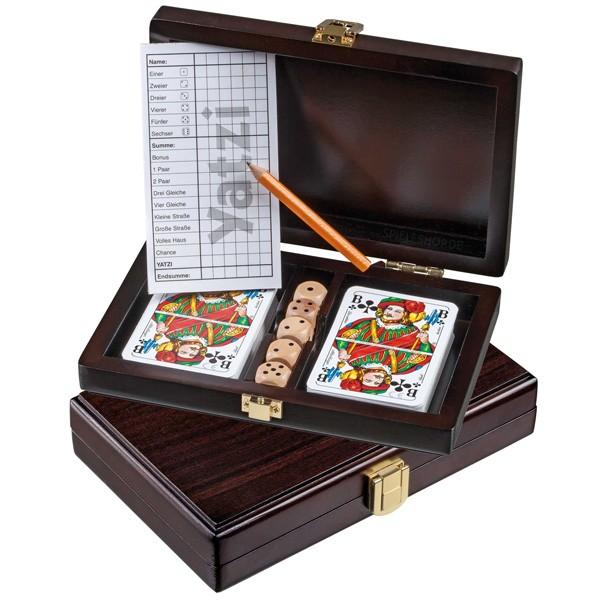 Spielkarten-Set in Walnussoptik - Rommé & Yatzi