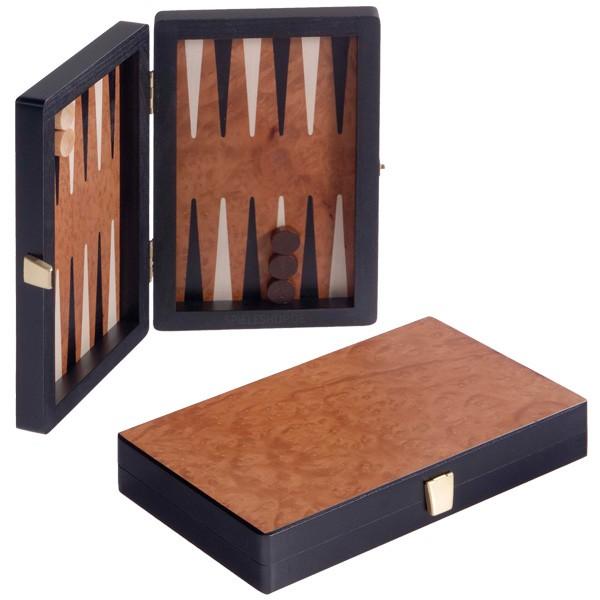 Edles Reise-Backgammon - Rüsterwurzel/schwarz magnetisch - 19 cm