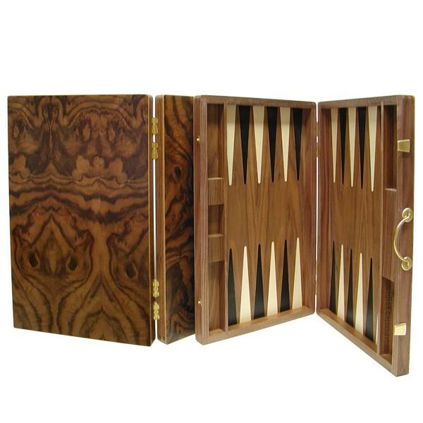 Backgammon-Koffer - Nusswurzel/braun mit Intarsien - 36 cm - Deutsche Handarbeit
