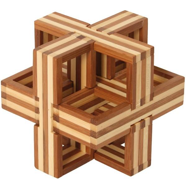 Bambus-Puzzle D - Puzzlewürfel - 6 Puzzleteile