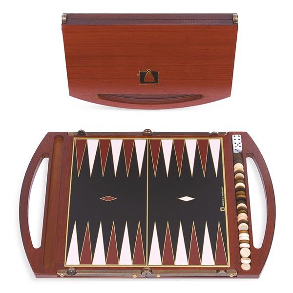 Kleiner moderner Backgammon-Mini-Koffer aus Padouk - 19,5 cm