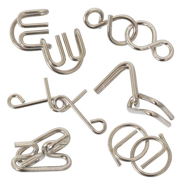 Metalpuzzle Set - 6 Draht-Vexiere
