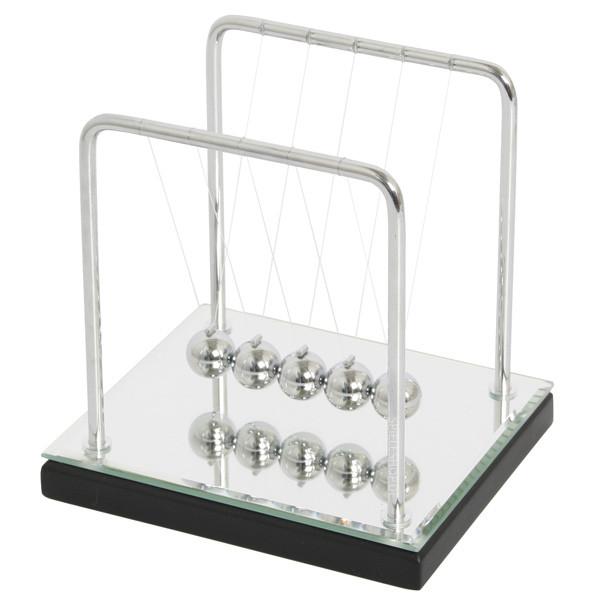 Kugelstoßpendel / Newtons-Wiege mit Spiegelsockel - 14 cm