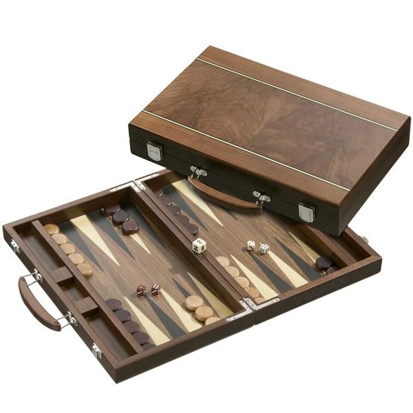 Backgammon im Walnuss-Koffer mit Zierader und Intarsien - 38 cm