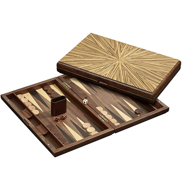 Große Backgammon-Kassette mit Hevea-Holz in Ebenholzdesign - 49 cm
