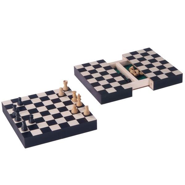 Reise-Schachspiel Ahorn schwarz/weiß/natur