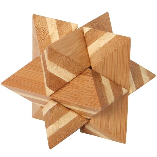 Bambus-Puzzle Stern - 6 Puzzleteile